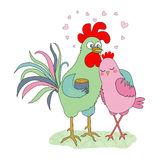 Cute cartoon cock and hen - symbol of 2017. Chinese New Year of the Rooster. Greeting card, Valentine Day design. Illustration in flat style Royalty Free Stock Image