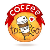 Cute cartoon coffee badge. Vector illustration Stock Image