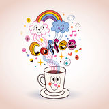Cute cartoon coffee cup illustration Royalty Free Stock Photography