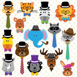 Cute Cartoon Collection of Well Dressed Animals Royalty Free Stock Image