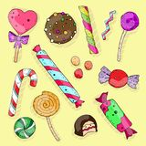 Cute cartoon color set of sweet candies on a neutral background. vector illustration. stock illustration