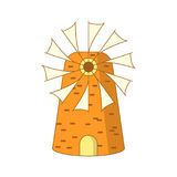 Cute cartoon colored greek mill Royalty Free Stock Photo
