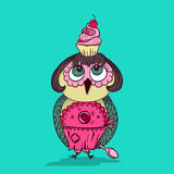 Cute cartoon colored owl with cake on the head. Young lady chef style. Stock Image