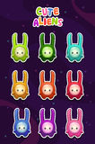 Cute cartoon colorful alien characters stickers. Set. Funny monsters icons on space background. Vector illustration for kids Stock Photo