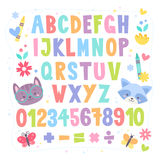 Cute cartoon colorful alphabet for children Stock Image