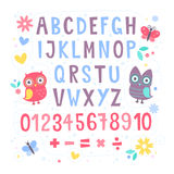 Cute cartoon colorful alphabet for children Stock Photos