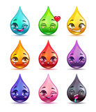 Cute cartoon colorful drop characters Royalty Free Stock Image