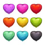 Cute cartoon colorful fluffy hearts. Isolated vector icons on white background. Love signs set Stock Photography