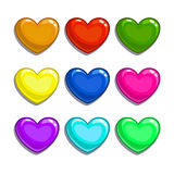 Cute cartoon colorful hearts set. Isolated vector on white background vector illustration