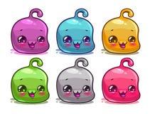 Cute cartoon colorful kawaii characters set Royalty Free Stock Image