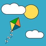 Cute cartoon colorful kite in the sky vector illustration Stock Image