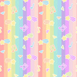 Cute cartoon colorful mix seamless pattern background illustration with star comet, music notes and diamond on rainbow stri vector illustration