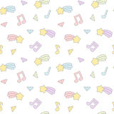 Cute cartoon colorful mix seamless pattern background illustration with star comet, music notes and diamond Stock Image