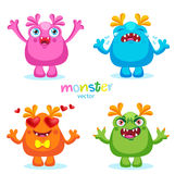 Cute Cartoon Colorful Monsters Emotions, Happy, Angry, Crying And Love. Stock Photography