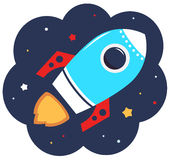 Cute cartoon colorful Rocket in space Royalty Free Stock Photography