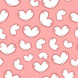 Cute cartoon colorful seamless pattern with hearts and stitches stock illustration