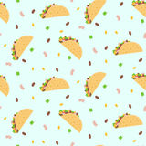 Cute cartoon colorful seamless pattern with mexican tacos, corn, lettuce and kidney bean Royalty Free Stock Photo