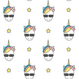 Cute cartoon colorful unicorn head with sunglasses seamless pattern background illustration Stock Photo
