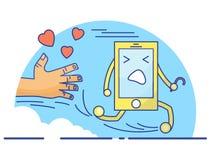 Cute cartoon concept of cellphone life stock illustration