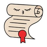 Cute cartoon contract. A creative illustrated cute cartoon contract stock illustration