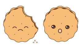 Cute cartoon cookies  on white background illustration Stock Photos