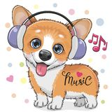 Cute cartoon Corgi Dog with headphones. On a white background royalty free illustration