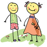 Cute cartoon couple vector illustration