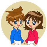 Cute Cartoon Couple. With blue eyes Royalty Free Stock Image