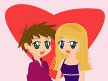 Cute Cartoon Couple. In front of a red heart Stock Photos