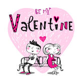 Cute cartoon couple on a bench. Vector illustration of a valentines couple, may be used as Valentine card Stock Photography