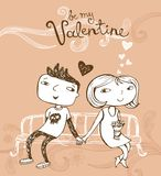 Cute cartoon couple on a bench. Vector illustration of a valentines couple, may be used as Valentine card Royalty Free Stock Photography