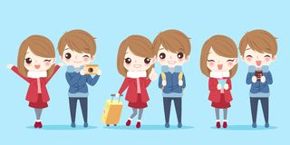 Cute cartoon couple royalty free illustration