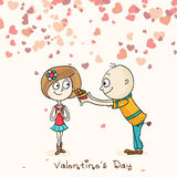 Cute cartoon couple for Happy Valentines Day celebration. Royalty Free Stock Photography