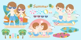 Couple on the beach. Cute cartoon couple smile happily on the beach Royalty Free Stock Photography
