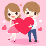 Cute cartoon couple take heart. Smile happily Stock Image