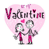 Cute cartoon couple. Vector illustration of a valentines couple, may be used as Valentine card Stock Photography