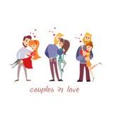 Cute cartoon couples in love. Stock Photo
