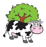 Cute cartoon cow. Cartoon illustration of a cute black and white cow standing in front of a tree Royalty Free Stock Image