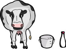 Cute Cartoon Cow. Cute fat dairy cow with pail and bottle of milk Stock Photography