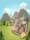 Cute cartoon cow in a badge and idyllic background Royalty Free Stock Photos
