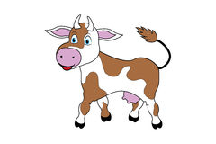 Cute cartoon cow. Brown and white cute cartoon cow vector illustration