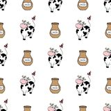 Cute cartoon cow with milk,seamless pattern. Background,stock vector illustration Vector Illustration