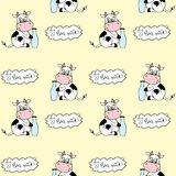 Cute cartoon cow with milk,seamless pattern. Background,stock vector illustration Stock Illustration