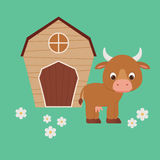 Cute cartoon cow staying in front of barn Royalty Free Stock Photography
