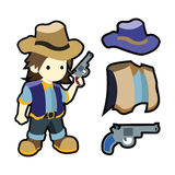 Cute cartoon cowboy with costumes Stock Photos