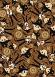 Cute Cartoon Cowboy Pattern. Vector Illustration of a Cute Cartoon Style Little Cowboy Sheriff in a Cool Pattern Royalty Free Stock Photos