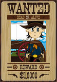 Cute Cartoon Cowboy Poster. Vector Illustration of a Cute Cartoon Wild West Cowboy on a Wanted Poster Stock Photography