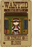 Cute Cartoon Cowboy Poster. Vector Illustration of a Cute Cartoon Wild West Cowboy on a Wanted Poster Stock Photos
