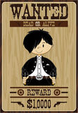 Cute Cartoon Cowboy Poster. Vector Illustration of a Cute Cartoon Wild West Cowboy on a Wanted Poster Royalty Free Stock Photography