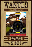 Cute Cartoon Cowboy Poster. Vector Illustration of a Cute Cartoon Wild West Cowboy on a Wanted Poster Stock Image